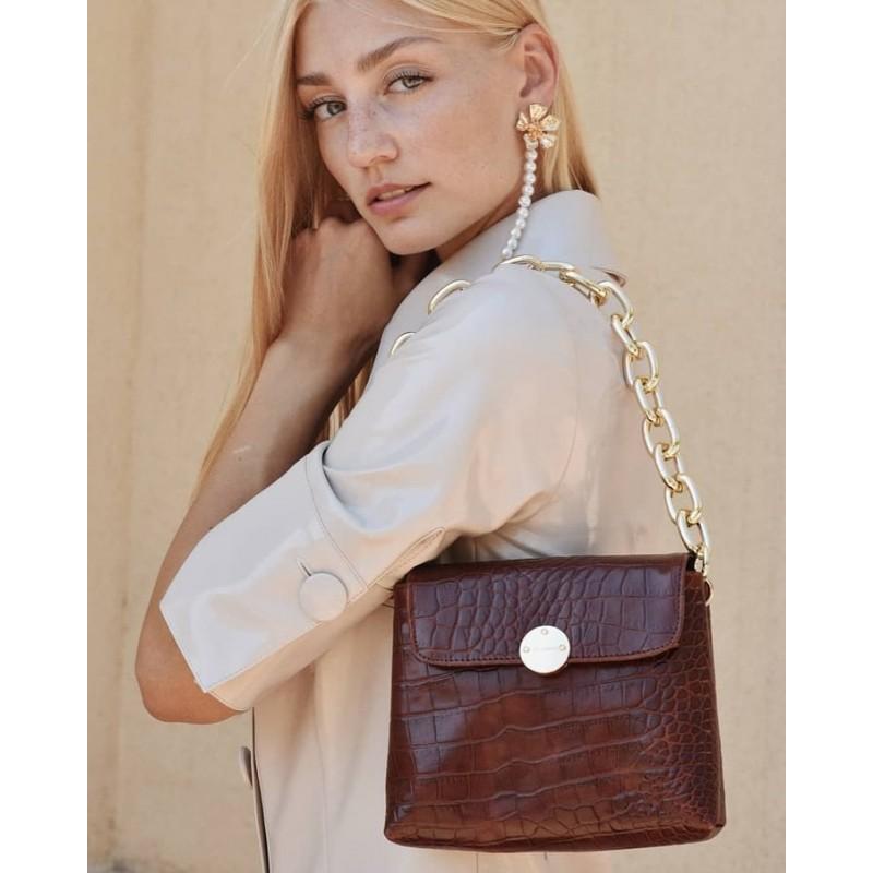 dark brown croco minibag clic jewels